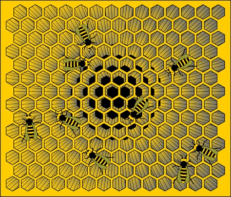 hexagonal: Illustration of bees building a hive