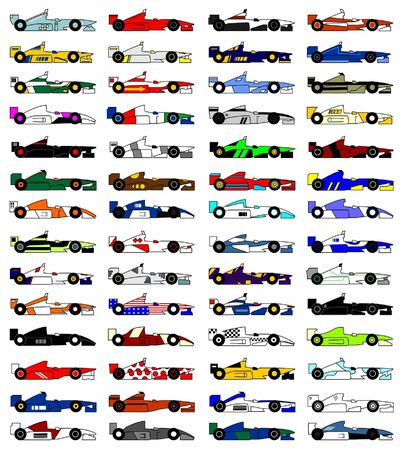 Many designs racing cars open wheel Vector