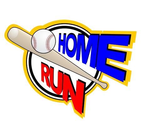 home run: Illustration showing baseball bat hitting ball