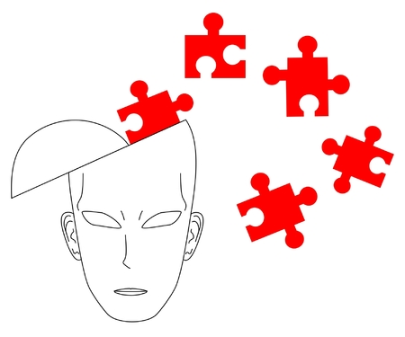 sociologist: Illustration of a thinking head with puzzle pieces around