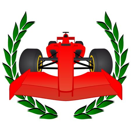 aileron: Red racing car with a laurel wreath