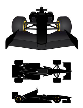 chassis: Black race car in various perspectives  Illustration