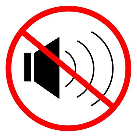 Que indica la señal a la prohibición de ruido Ilustración de vector