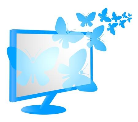 plasma screen: Plasma screen with butterflies flying  Illustration