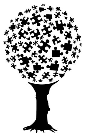 Abstract illustration of puzzle pieces forming a tree  Vector