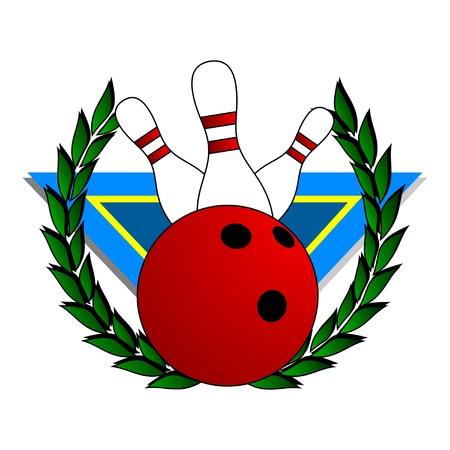 representing: Coat representing bowling with a laurel wreath