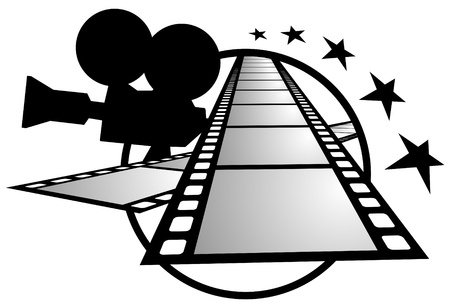 film shooting: Drawing frames and film camera Illustration