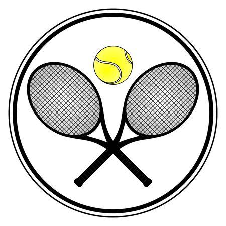 raqueta de tenis: Se�al de tenis con dos raquetas y una una bola  Vectores
