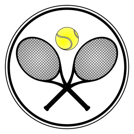 tennis racket: Tennis signal with two rackets and a one ball