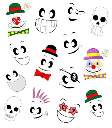 disfrazados: Caras de t�teres con diferentes expresiones y disfraces