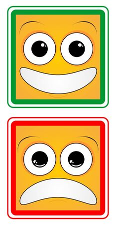 Design of a happy face and a sad Stock Vector - 9243345