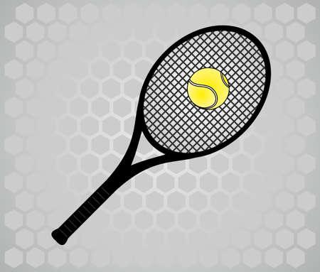 raqueta de tenis: Raqueta de tenis en fondo gris  Vectores