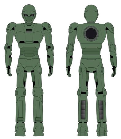 humanoid: Green robot drawing in two positions