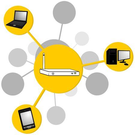 cable de red: Enrutador de transmitir la se�al de internet de dibujo  Vectores