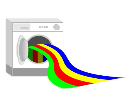 dyeing: Washer washing a colorful garment  Illustration
