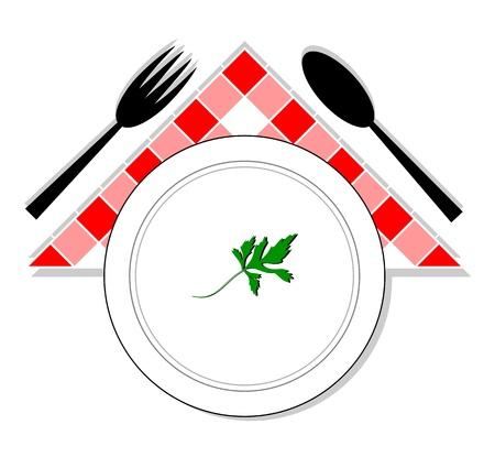 cuchara y tenedor: Dibujo de cuchara, la bifurcaci�n y la placa con perejil en el centro
