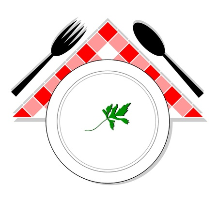 Drawing of spoon, fork and plate with parsley in the center