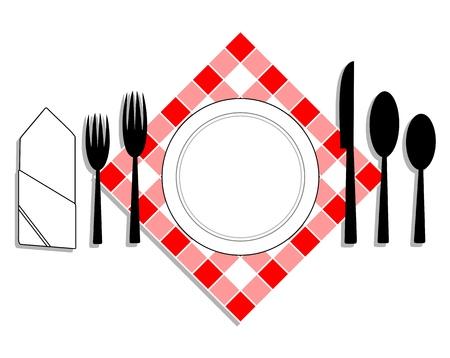 Zeichnung-Tabelle legen Sie für das Mittagessen