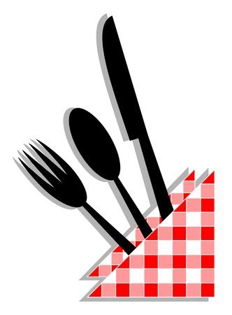 cuchara y tenedor: Utensilios de alimentos con un pa�o