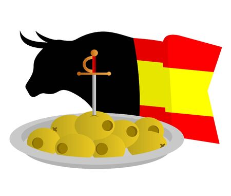 Olives with a bullfighter sword  Vector