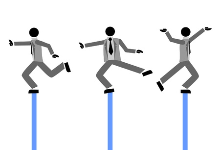 Three puppets dancing while they balance