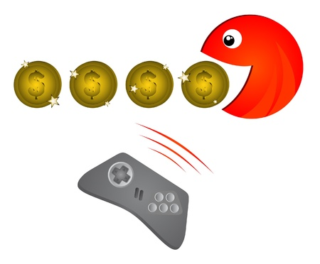 Command console game to eat coins Vector
