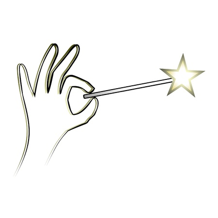 abracadabra: Hand holding a magic wand with a star on the end