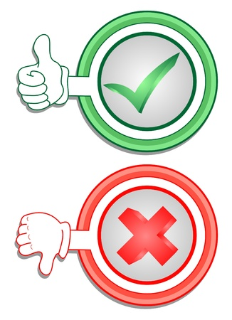 Signs indicating true or false  Ilustração