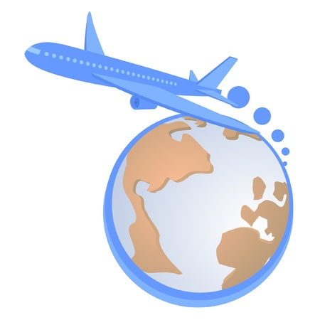 Blue airplane across the world  Stock Vector - 9415881