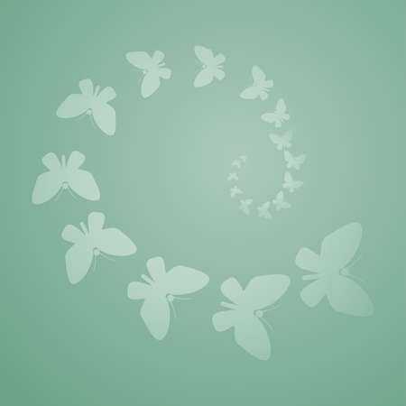 Butterflies flying over a green background Stock Vector - 9416228