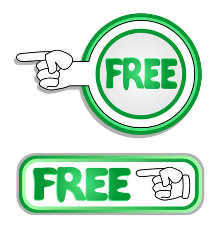 Buttons with hand pointing to the word free  Vector