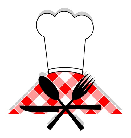 Hat cooking, spoon, fork and knives