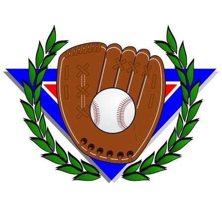 hand glove: Baseball glove with a laurel wreath