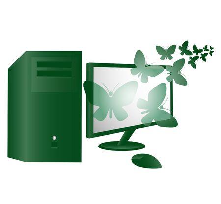 Desktop computer with moths flying Stock Vector - 9425703