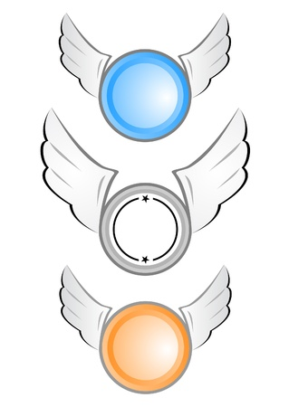Three round shields with wings Stock Vector - 9425439