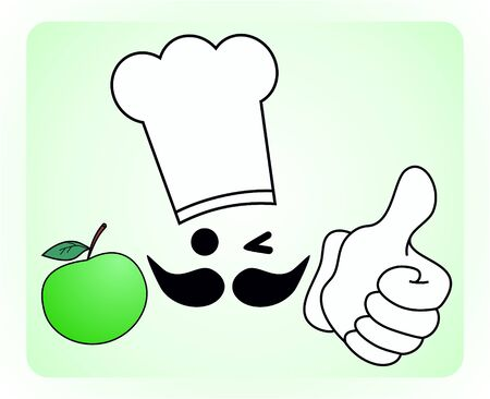 recommended: Advising cook eat an apple  Illustration