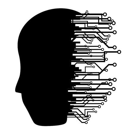 cyborg: Silueta de cabeza humana con muchas conexiones