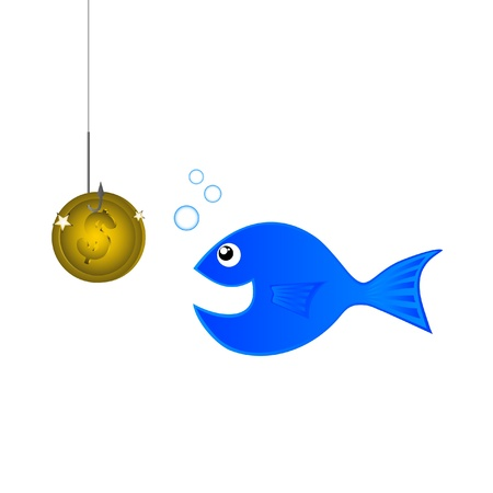 Trying to fish using a gold coin Vector