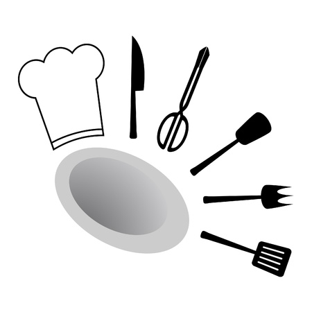 cocking: Utensils to cook with white cap