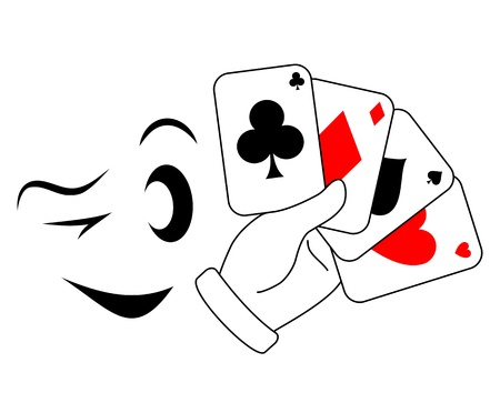 betting: Draw poker player with a wink  Illustration