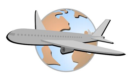 Drawing of airplane across the world