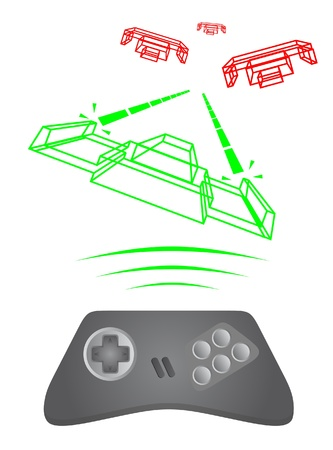 Playing retro game of spacecraft Stock Vector - 9425201