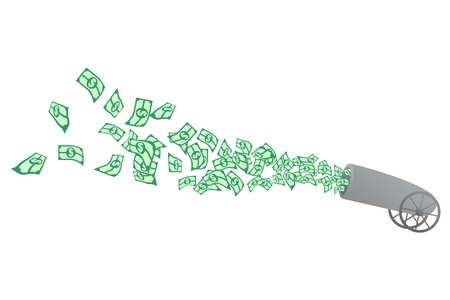 firing: Cannon firing large numbers of dollars  Illustration
