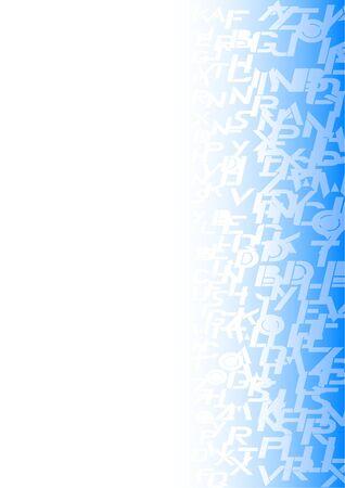 adorned: Background adorned with many blue letters  Illustration