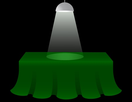 define: Green table lighted from the roof  Illustration