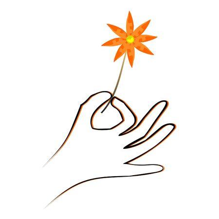 Hand Kommissionierung eine Blume zart Illustration