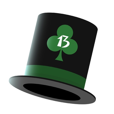 thirteen: Hat with the clover symbol and the number thirteen  Illustration