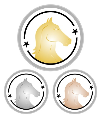 Design of medals for competition horses  Vector