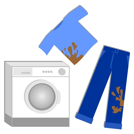 dirty clothes: Drawing a washing machine and clothes dirty