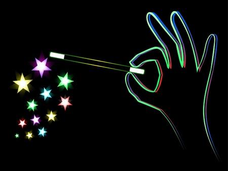 Hand mit Zauberstab tun einen trick